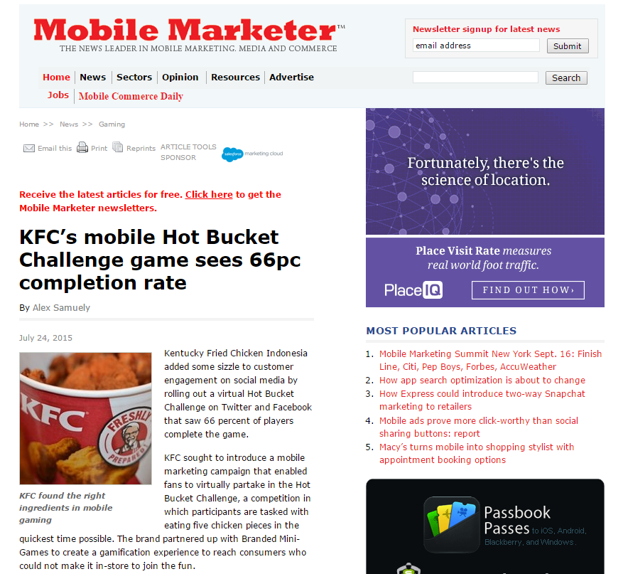 Mobile Marketer - We get featured! - Branded Mini-Games